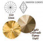 SWAROVSKI ELEMENTS RIVOLI 1122 LIGHT COLORADO TOPAZ (246) 12mm