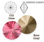 SWAROVSKI ELEMENTS RIVOLI 1122 ROSE (209)  12mm