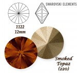 SWAROVSKI ELEMENTS RIVOLI 1122 SMOKED TOPAZ (220) 12mm