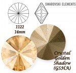 SWAROVSKI ELEMENTS RIVOLI 1122 CRYSTAL (001) GOLDEN SHADOW (GSHA) 14 mm