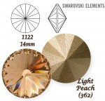 SWAROVSKI ELEMENTS RIVOLI 1122 LIGHT PEACH (362) 14 mm
