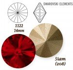 SWAROVSKI ELEMENTS RIVOLI 1122 SIAM (208) 14 mm