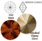 SWAROVSKI ELEMENTS RIVOLI 1122 SMOKED TOPAZ (220) 14 mm