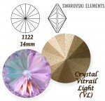SWAROVSKI ELEMENTS RIVOLI 1122 CRYSTAL (001) VITRAIL LIGHT (VL) 14 mm