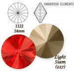 SWAROVSKI ELEMENTS RIVOLI 1122 LIGHT SIAM (227) 14 mm