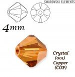SWAROVSKI ELEMENTS XILION BEAD 5328, CRYSTAL (001) COPPER 4 mm